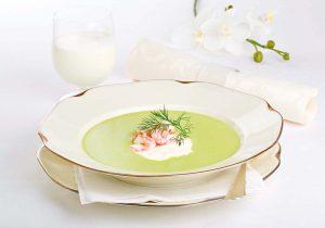 Broccolisuppe mit Creme fraiche
