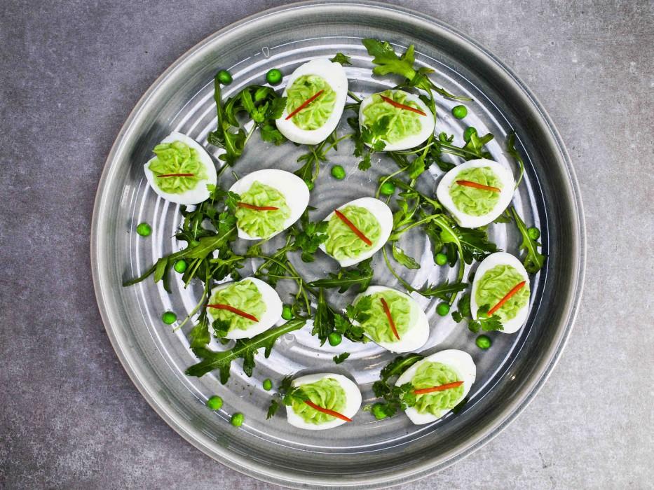 Rezeptidee Herzhaft gefüllte Eier mit Erbsen-Frischkäse